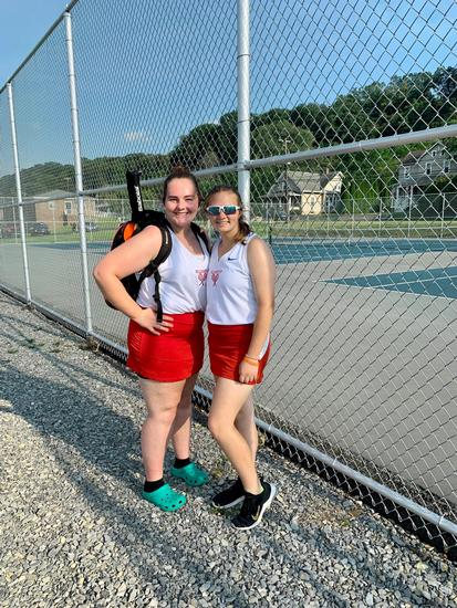 The first doubles pair of Emma Campbell and Abby Robertson shut out their opponents in their 6-0, 6-0 victory at Mifflinburg on Thursday.