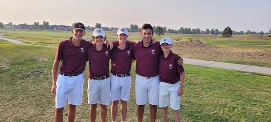 Kellen (right) paced the Wizards on his way to a second place score of 73 (1-over). Junior Landon Ball (middle) was third with a 74 (2-over). Senior Brentyn Paiz (second from right) was fourth with a round of 75 (3-over). Freshman Dillon Calkins (left) tie